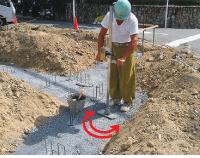 モルタルレベル棒の施工方法
